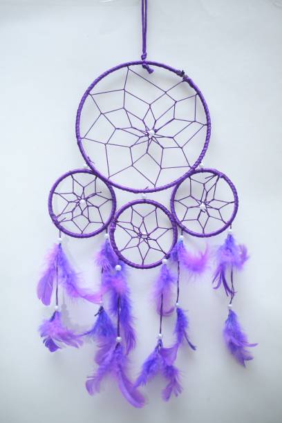 Ryme Purple Color 4 Rings Dream Catcher Wall Hanging For Home / Office Wool Dream Catcher