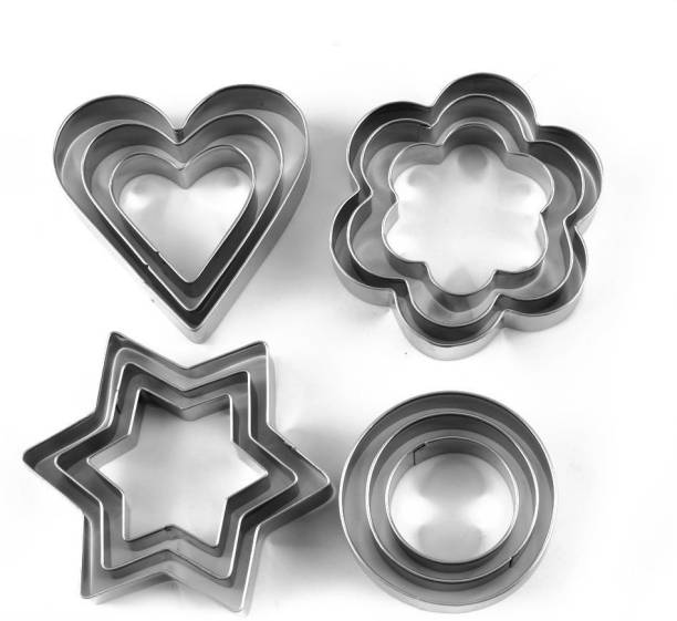 RISCO RETAILS COOKIE CUTTER/ STAINLESS STEEL COOKIE CUTTER WITH 4 SHAPE & 12 PIECES PASTRY FRUIT MOLDS HEART FLOWER ROUND STAR BISCUIT MOULD FONDANT CUTTING CUTTERS CAKE MUFFIN DECOR MOLD MULTIFUNCTIONAL TOOL Cookie Cutter