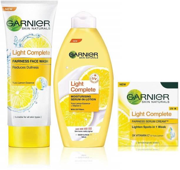 GARNIER Skin Naturals Light Complete Combo - 1 Lotion 1 Facewash And 1 Serum Cream