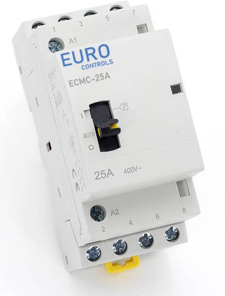 Euro Controls 25 Amps 4 pole 4 NO Modular Power Contactor with Manual Override - Din Mount - Low noise switching - AC Volts 2 25 A Two Way Electrical Switch