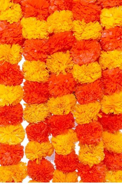 SY BLOSSOMS Yellow, Orange Marigold Artificial Flower