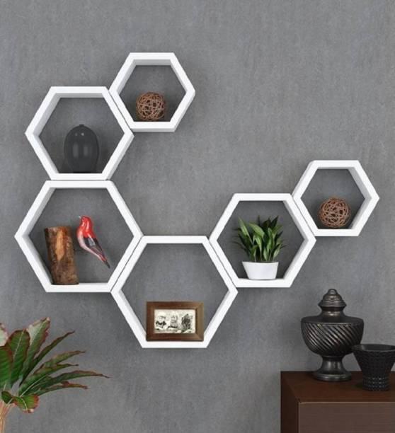 Martemporium White beauty rack shelf Wooden Wall Shelf