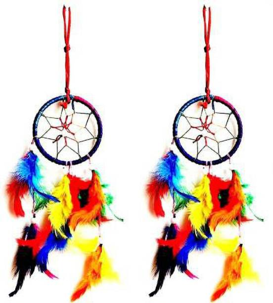 Ryme Multi Color Dream Catcher Hanging For Car, Window Positive Dream Catcher (Pack Of 2) Feather Dream Catcher