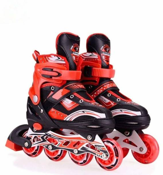 Authfort Adjustable All Pure PU Wheels it has Aluminum-Alloy which is Strong with LED Flash Light on Wheels In-line Skates - Size 5-8 UK