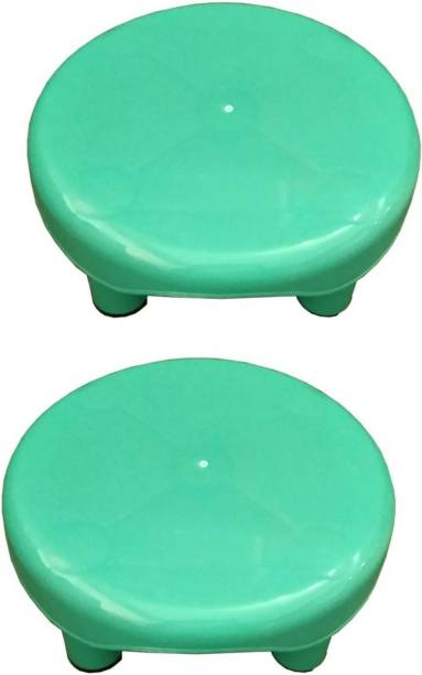 avishi Multipurpose Round Bathroom/Kitchen 5 Leg Green Stool Pack of 2 Pcs Bathroom Stool