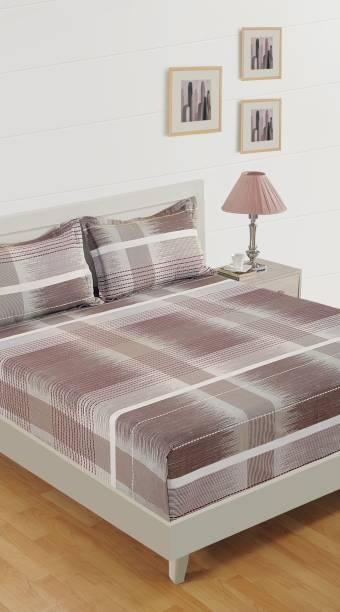 SWAYAM 160 TC Cotton Single Striped Bedsheet
