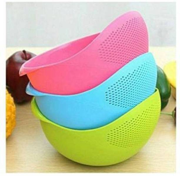 Floraware 3 pcs Multipurpose Plastic Rice Pulses Fruits Vegetable Noodles Pasta Washing Bowl & Strainer Washer and Colander Sieve