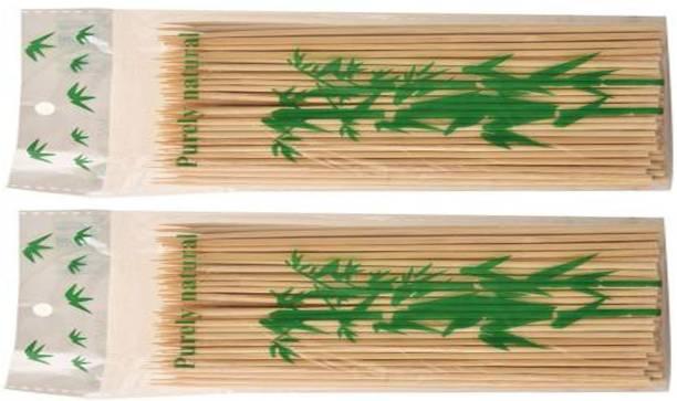 Ambassador TWI-Ambassador Wooden Bamboo Skewer Round 10 inch Bar-be-que/Sathay Stick (Pack of 2 x 80) Disposable Wooden Fruit Fork Set
