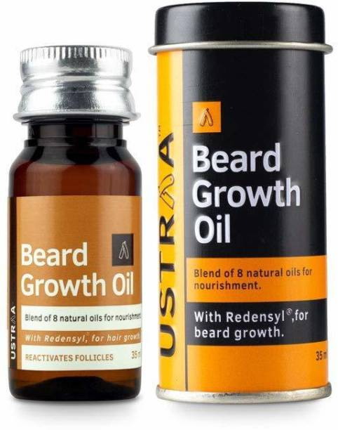 USTRAA Beard Growth Oil - 35ml - More Beard Growth, With Redensyl, 8 Natural Oils including Jojoba Oil, Vitamin E, Nourishment & Strengthening, No Harmful Chemicals Hair Oil