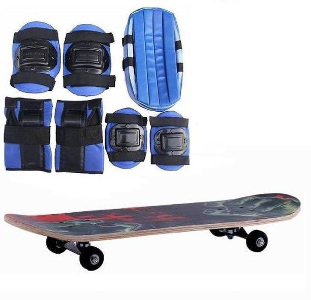 Web Mall Plus Medium Size Skateboard With 1 Head Guard 2 Knee Guards + 2 Elbow Guards + 2 Palm Guards Protection Set Skating Kit
