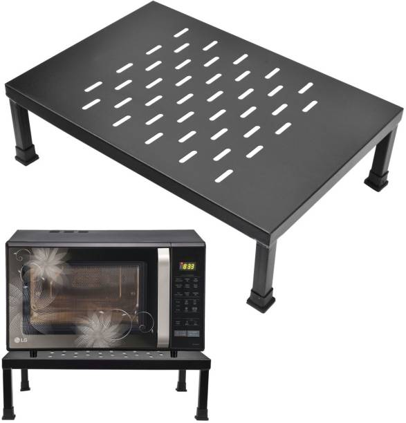 IMPULSE High Grade Gi Metal Universal Microwave Oven Fix Stand for Kitchen Platform - Floor (Black-Perforated) Iron Kitchen Trolley