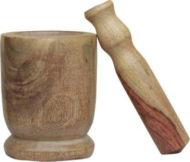 Goodwill Crafts Wooden Small Okhli and Musal/Mortar and Pestle Set for Kitchen , Wood Masher