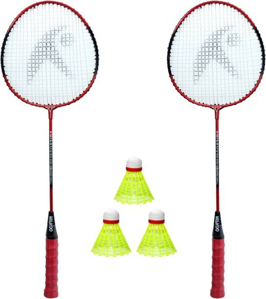 Hipkoo Sports BADMINTON RACKET 2 SET AND PACK OF 3 PLASTIC SHUTTLECOCK Red Strung Badminton Racquet