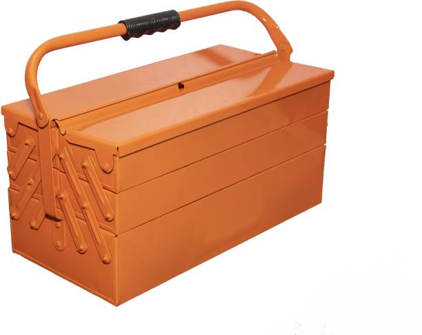 MAFAHH 5 Compartments 4 Trays High Grade Metal Tool Box With Handle For Home Garage Hand Tools Machine Tools Hammer Drill Machine Nuts Screw Driver Weight Upto 30 Kg Suitable For Tools [ Orange ] Tool Box with Tray