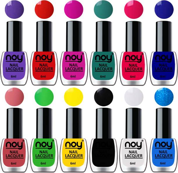 NOY Quick Dry Long Lasting Nail Polish Combo Offer Set of 12 Purple,Orange Red,Plum,Radium Green,Carrot Pink,Blue,Peach,Green,Yellow,Black,White,Sky Blue