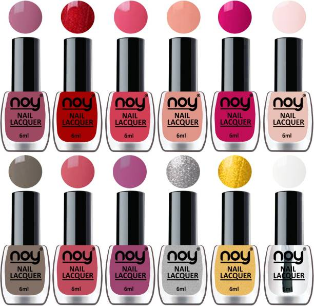 NOY Quick Dry Long Lasting Nail Polish Combo Offer Set of 12 Mauve,Red,Peach,Nude,Magenta,Nude,Nude Grey,Peach,Purple,Silver,Golden,Top Coat