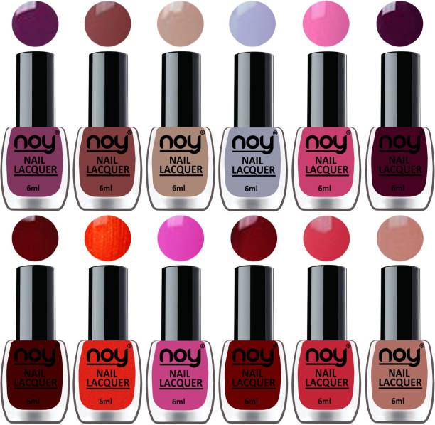 NOY Quick Dry Long Lasting Nail Polish Combo Offer Set of 12 Violet,Brown,Nude,Light Grey,Pink,Dark Wine,Nude,Orange,Pink,Red,Carrot Pink,Maroon
