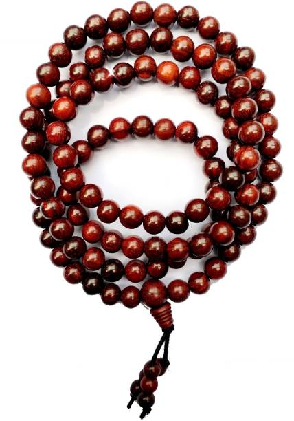 TWIRFY Natural Red Sandalwood Mala For Boys & Mens Beads Wood Chain