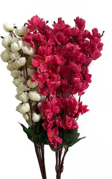Ryme Combo Of White And Dark Pink Artificial Flower Bunch For Home Decoration Showpiece (Pack Of 2) White, Red Orchids Artificial Flower