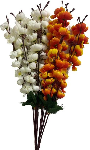 Ryme Combo Of White And Yellow/Orange Mix Artificial Flower Bunch For Home Decoration Showpiece (Pack Of 2) White, Yellow, Orange Orchids Artificial Flower