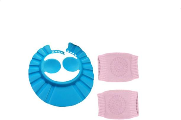 TOPHAVEN Baby Bathing Shower Cap for Eye/Ear Protection and Baby Knee/Elbow Pad/Socks for Crawling Safety (1 Cap + 1 Pair Knee Pad)