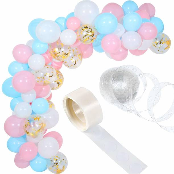Bash N Splash Solid Pink White & Blue Garland Party Decoration Pack With confetti balloon with Arch Strip & Glue Dots(Pack of 112) Balloon