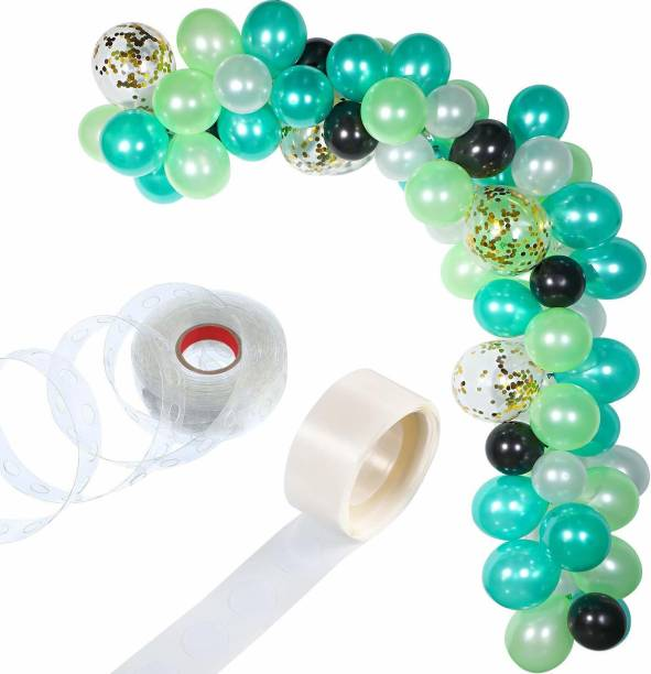 Bash N Splash Solid Dark Green, Light Green White & Black Garland Party Decoration Pack With confetti balloon with Arch Strip & Glue Dots(Pack of 112) Balloon