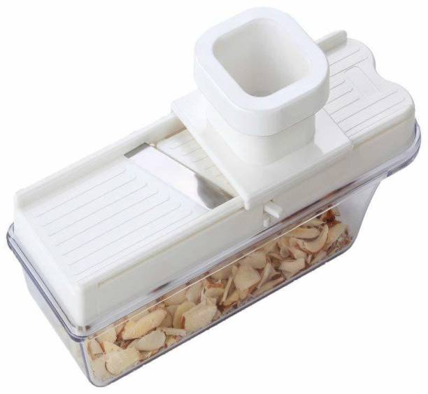 Queen kitchen Dry Fruit, Vegetable, Garlic Ginger Slicer, Cutter, Grater with Hand Guard Holder, It Comes with Adjustable Thickness Setting Along with A Container Vegetable Slicer