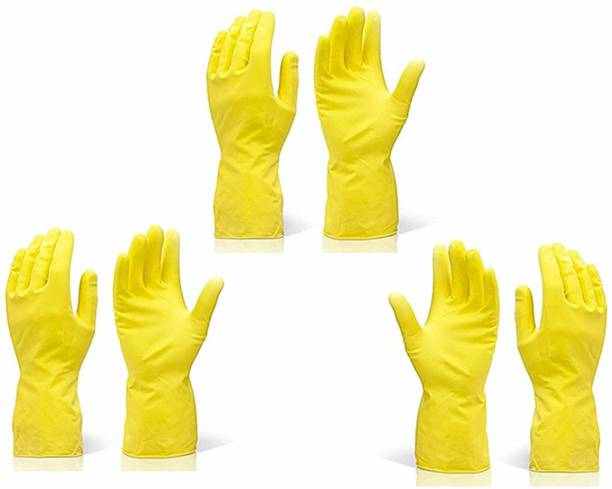TWENOZ 3 Pair Reusable Rubber Stretchable Washing Cleaning Hand Gloves Wet and Dry Disposable Glove Set