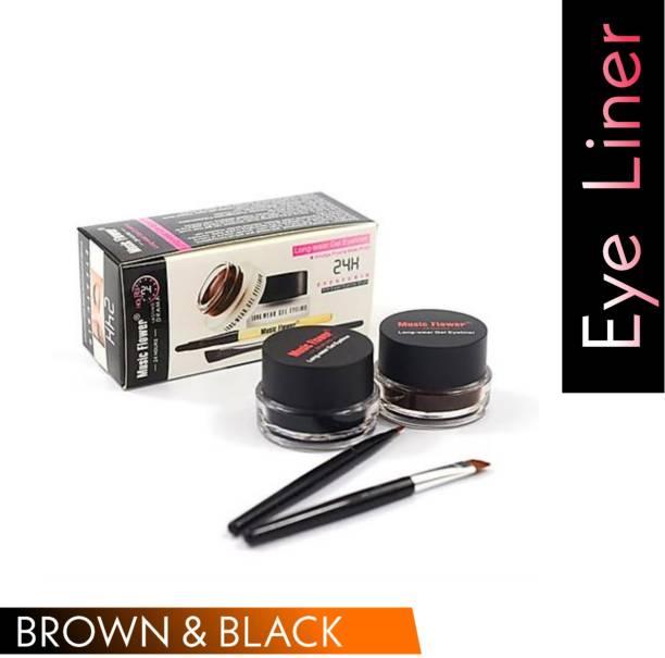 Music Flower Long Lasting Gel Eyeliner, Black & Brown (2 Brush) 6 g