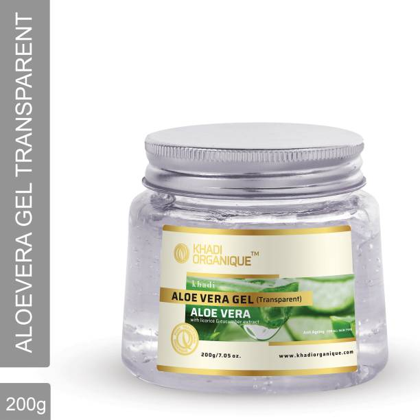khadi ORGANIQUE Natural Aloe Vera Face Massage Gel with Licorice & Cucumber Extracts (Transparent)
