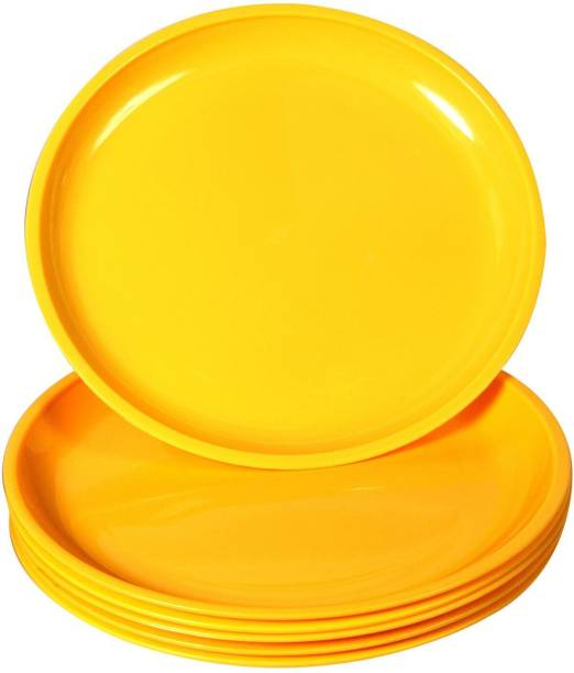 Everbuy Best quality branded microwave, dishwasher and freezer safe full size polypropylene dinner plates for party and daily use (set of six yellow plates) Dinner Plate