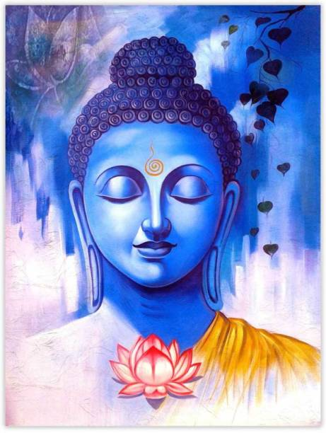 Gautam Buddha Sparkle Coated Self Adesive Poster Without Frame Paper Print
