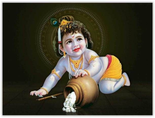 Natkhat Bal Krishna Sparkle Coated Self Adesive Poster Without Frame Paper Print