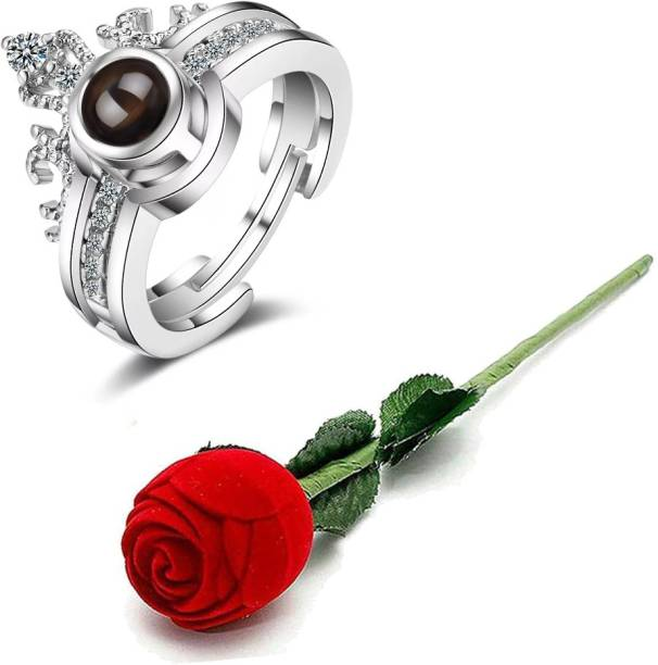 University Trendz 100 Languages I Love You Memory Crown Ring with Velvet Red Rose Box Copper Silver Plated Ring