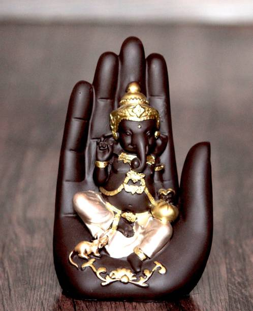 Craft Junction Handcrafted Lord Ganesha On Palm Decorative Decorative Showpiece  -  16 cm