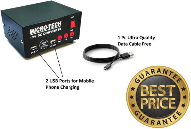 Microtech Dc to Ac convertor 12v Converter 200 Watt with 2 USB Ports Worldwide Adaptor