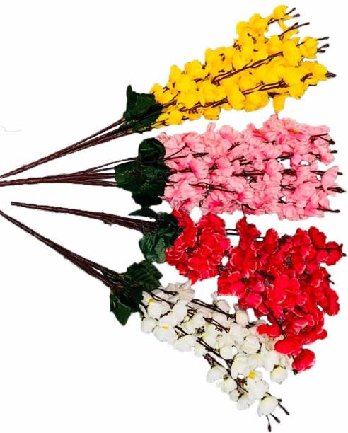 Ryme Beautiful Red, Pink, Yellow, White Orchids (Pack Of 4) Red, Pink, Yellow, White Orchids Artificial Flower