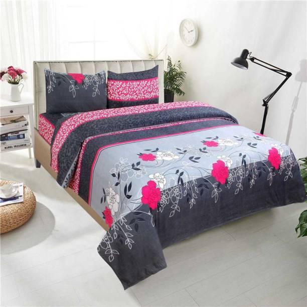 New Click Shop 160 TC Cotton Double 3D Printed Bedsheet