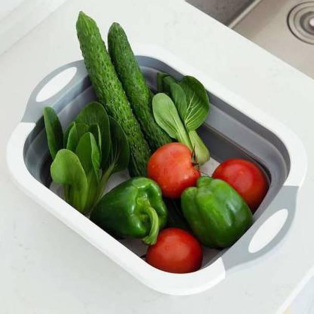 GNV Cutting Chopping Board/Washing Bowl,Fruit Vegetable Basket Plastic, Silicone Cutting Board