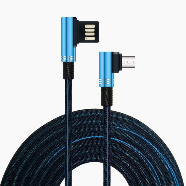 ET BAZAR Micro USB Cable Nylon Braided 90 Degree Connector Fast Charging Cable 2.4Amp, 1meter and 2meter 2 m Micro USB Cable