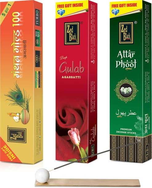 Zed Black Different Fragrances Manthan Gold 100,Attar Phool,Deep Gulab Combo of 3 Premium