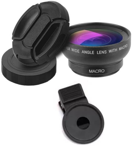 NICK JONES Micro & Wide Angle Telephoto Lens 0.45X Super Wide Angle Lens 0.45X Professional HD Camera Lens Kit Mobile Phone Lens