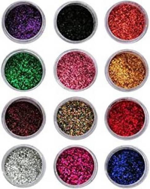 Shopimoz Eye Shadow Glitter Powder Set And Nail Art Decoration 4x12= 48 g 48 g(Multicilor)