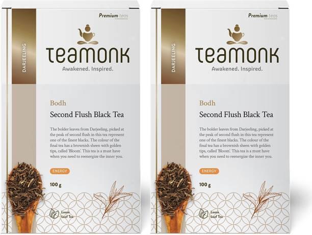 Teamonk Darjeeling Organic Black Tea, 100g (50 Cups)-Pack of 2   100% Natural Loose Leaf Tea from Himalayas   Bodh Second Flush Black Tea for Energy Booster   No Additives, USDA Organic Certified Unflavoured Black Tea Box