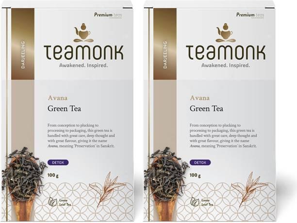 Teamonk Darjeeling Organic Green Tea for Weight Loss, 100g (50 Cups)-Pack of 2   100% Natural Loose Leaf Tea   Avana Green Tea for Weight Loss   No Additives Unflavoured Green Tea Box