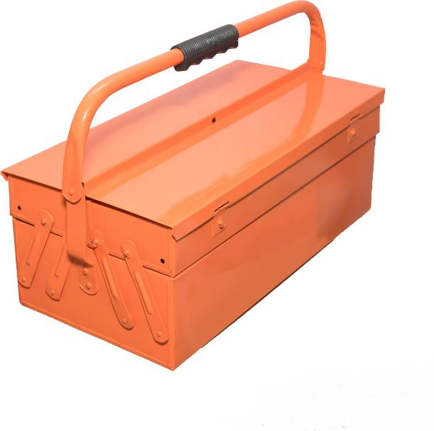 MAFAHH 3 Compartments 2 Trays High Grade Metal Tool Box With Handle For Home Garage Hand Tools Machine Tools Hammer Drill Machine Nuts Screw Driver Weight Upto 20 Kg Suitable For Tools [ Orange_6 ] Tool Box with Tray