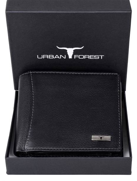URBAN FOREST Men Black Genuine Leather Wallet