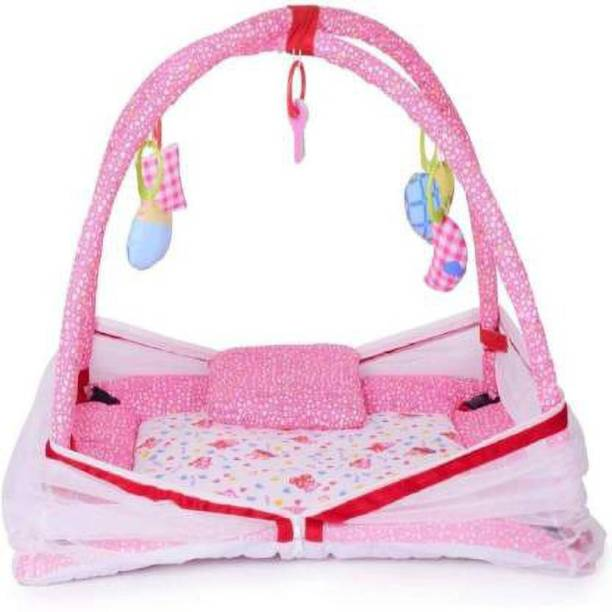 little monkeys Infants Baby Mosquito Net with Hanging Toys- PINK Polka Dots Mosquito Net (PINK)