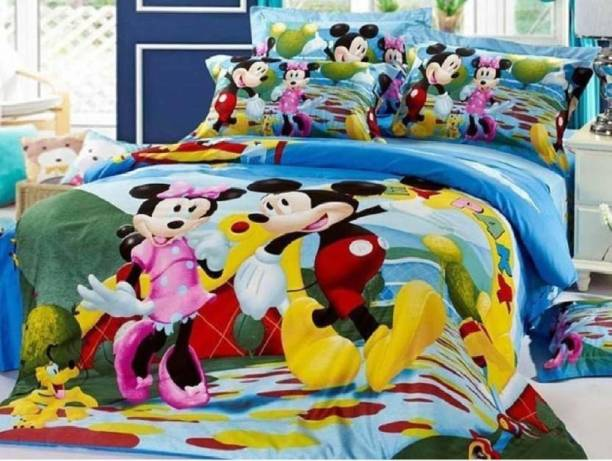 RS Enterprises 180 TC Polycotton Double Cartoon Bedsheet